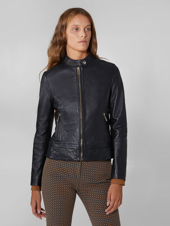 Biker jacket in soft touch leather