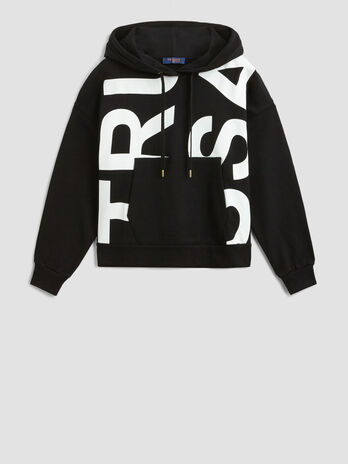 Sweatshirt aus Baumwolle mit Kapuze und Maxi Print