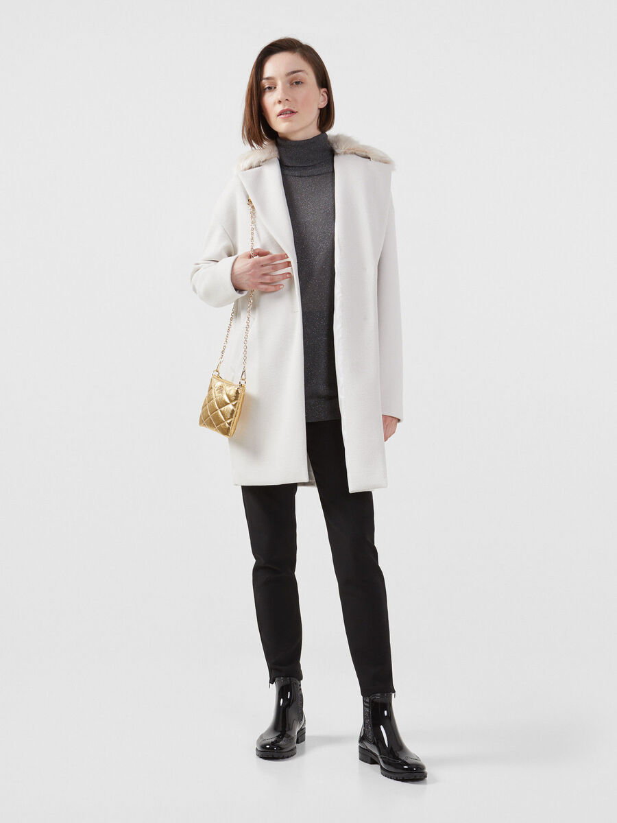 Fabric midi coat with fur collar
