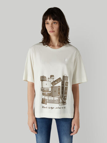 Oversized jersey T-shirt with travel print