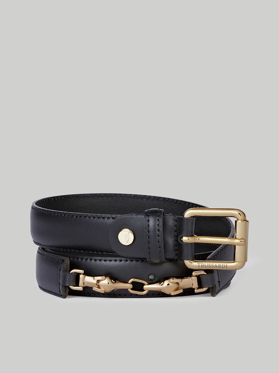 Leather belt with metal horsebit detail