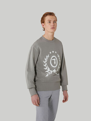 Regular-fit cotton sweatshirt with maxi-logo