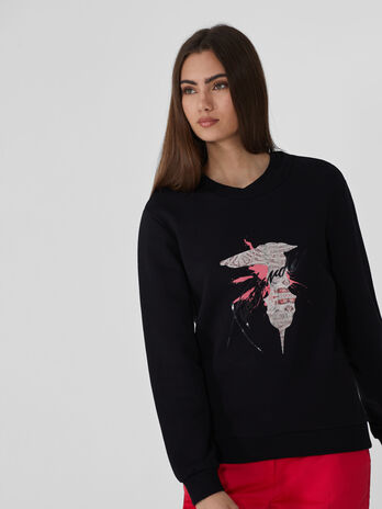 Regular-fit cotton sweatshirt with print