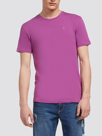 Stretch cotton T shirt with embroidery