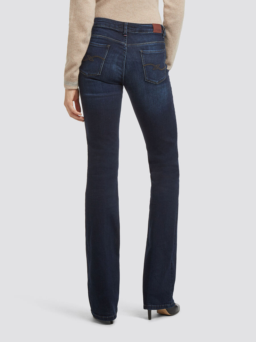 Faded effect flared jeans