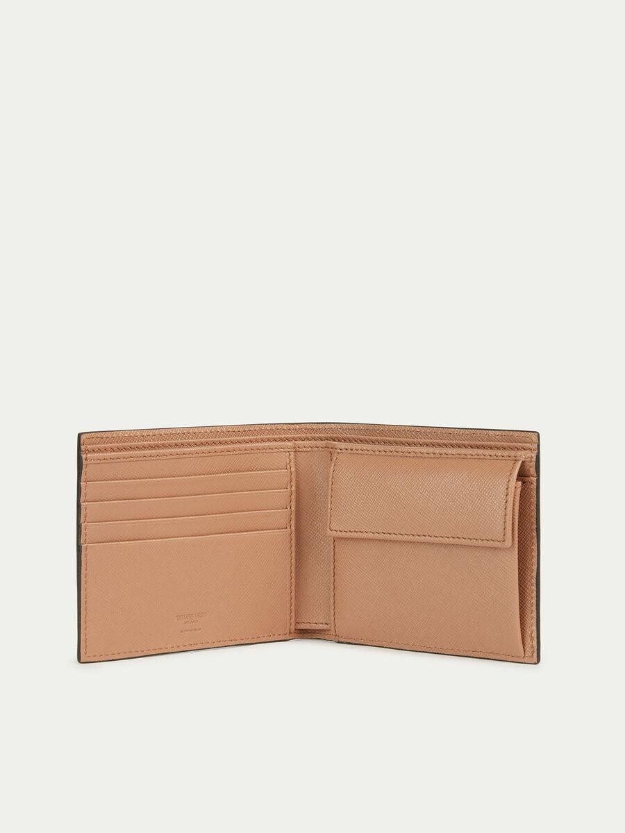 Porte cartes en cuir effet saffiano avec porte monnaie