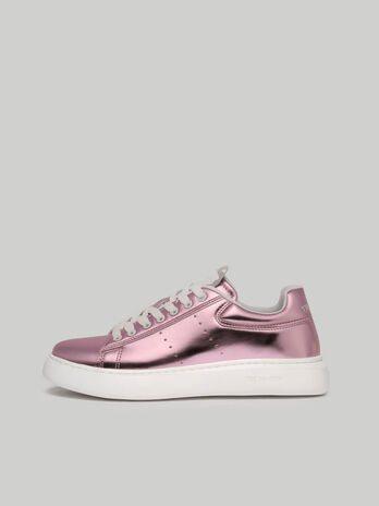 Metallic faux leather sneakers