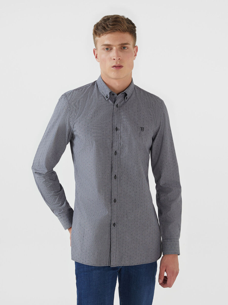 Regular fit-shirt in melange gingham cotton