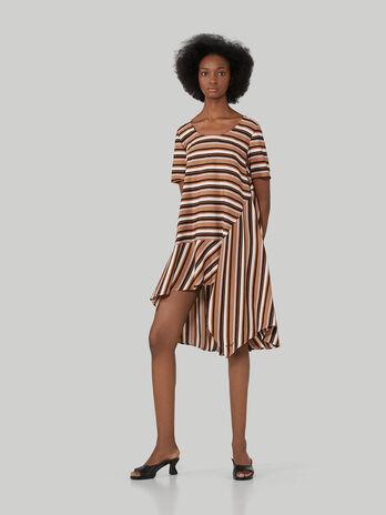 Asymmetrical striped twill dress