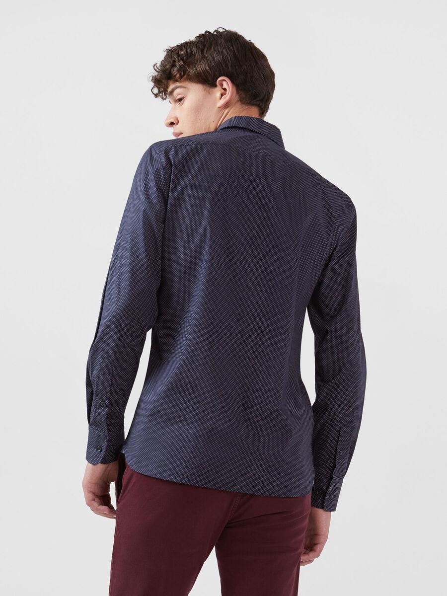 Patterned stretch poplin shirt English spread collar