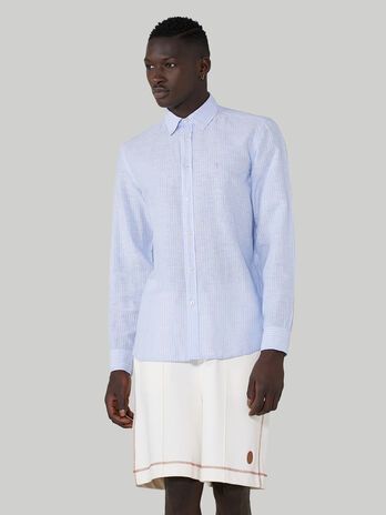 Close-fit shirt in patterned cotton and linen