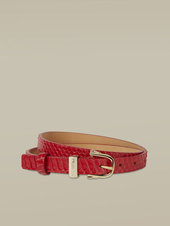 Thin Argo belt in elaphe leather