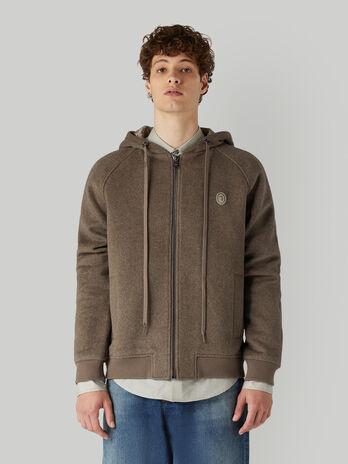 Hooded wool-blend jacket