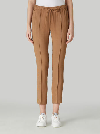 Pantalon cropped de viscosa con cordon ajustable