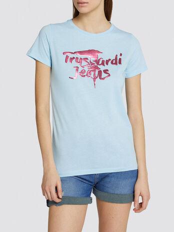T shirt coupe classique en jersey de coton imprime logo