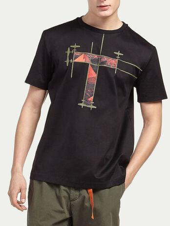 T Shirt aus Interlock aus reiner Baumwolle mit Print