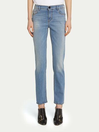17d888fbc6f1b Regular fit light denim jeans with patch detail