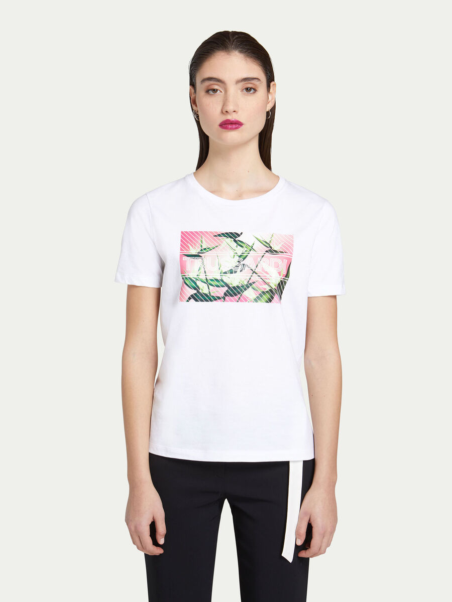 T-shirt regular fit in jersey con stampa fiori