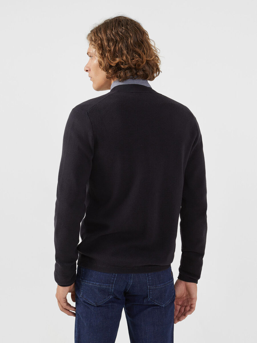 Regular fit cardigan in solid colour wool and cotton