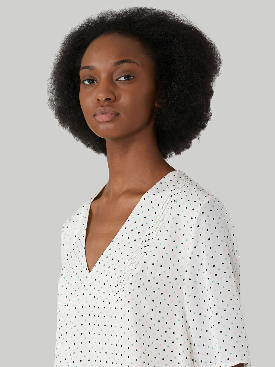 Short viscose dress with polka-dot print