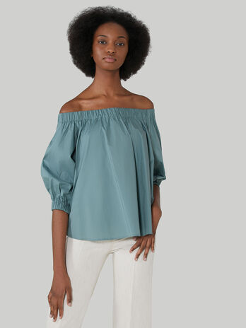 Cotton poplin off-the-shoulder blouse