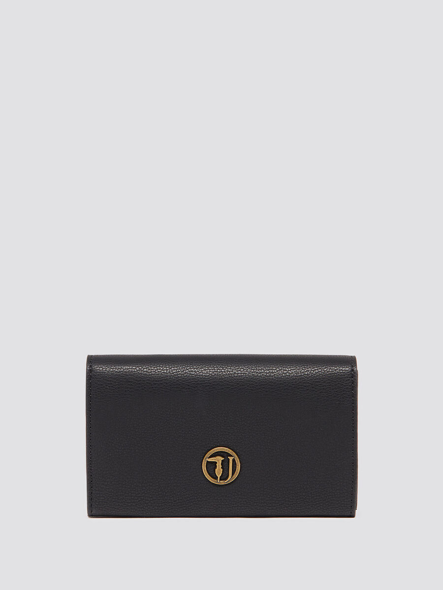Medium purse with flap and logo insert