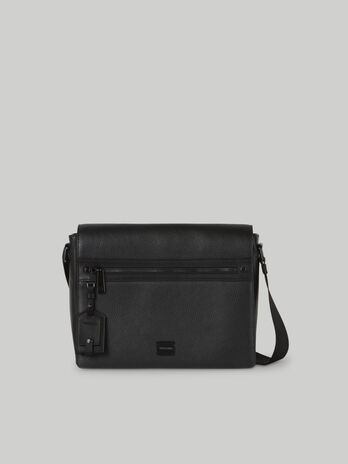 Medium hammered leather messenger bag