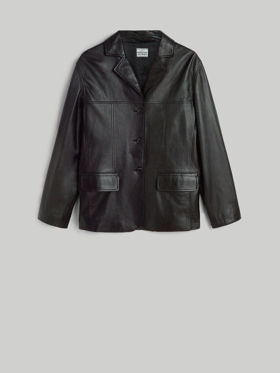 Semi-glossy smooth leather jacket