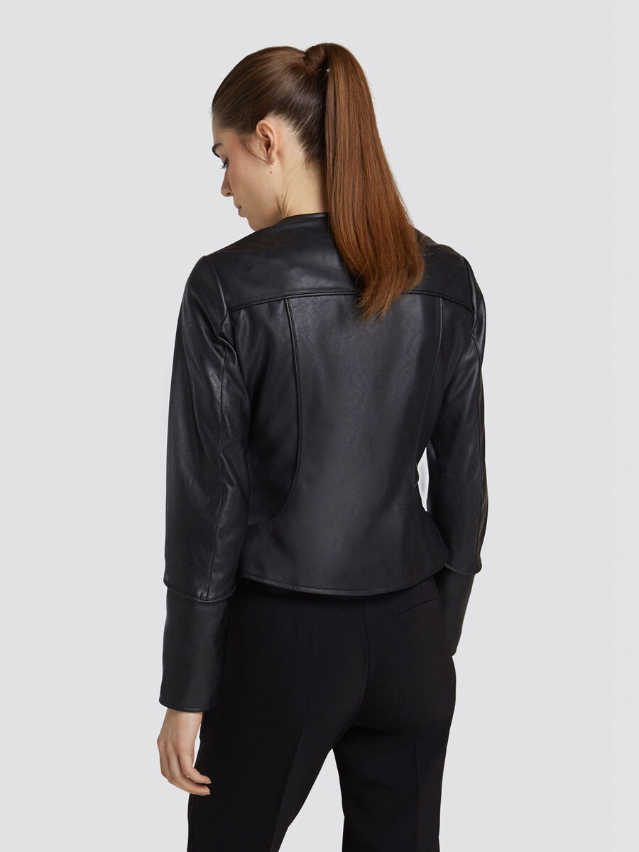 Regular fit collarless jacket in faux leather