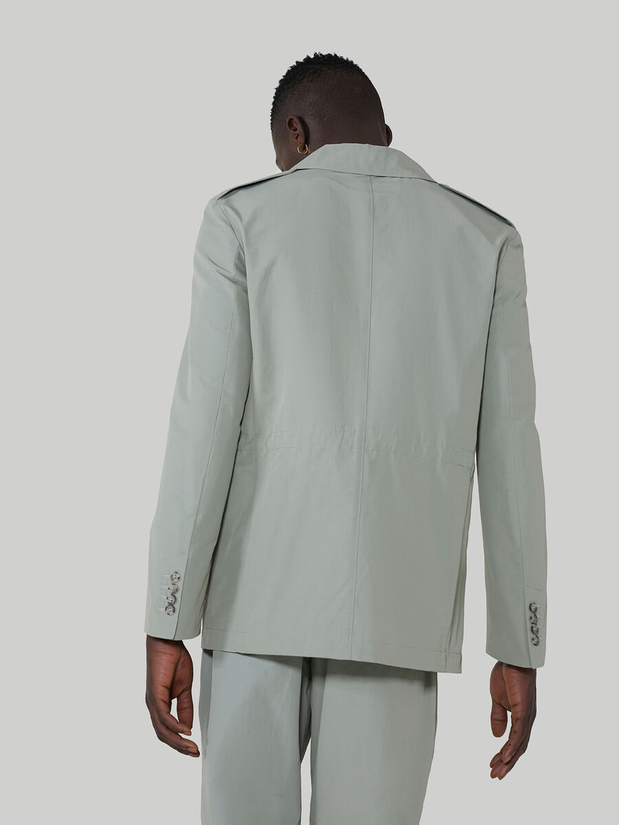 Regular-fit technical cotton blazer with drawstring