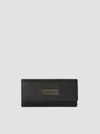 Medium faux saffiano leather key ring