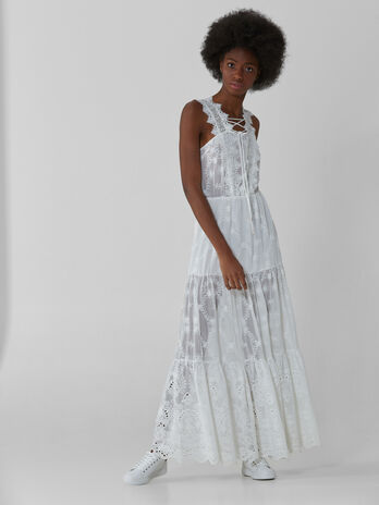 Long dress in embroidered crepon