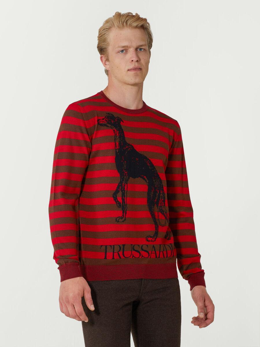 Pullover regular fit in mista lana a righe