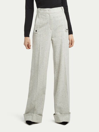 Dotted wool palazzo trousers