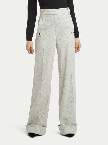 Pantaloni palazzo lana puntinati