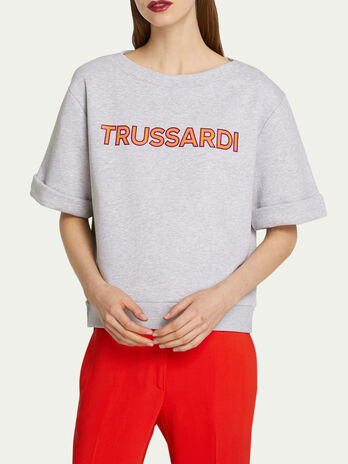Technical fleece sweatshirt with maxi lettering