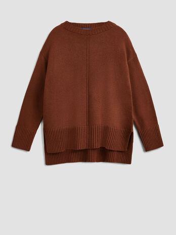 Pullover in mista lana con scollo ampio