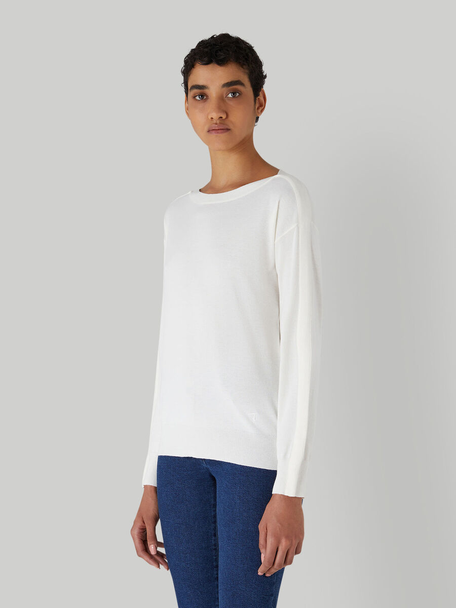 Viscose-blend pullover with boat neck