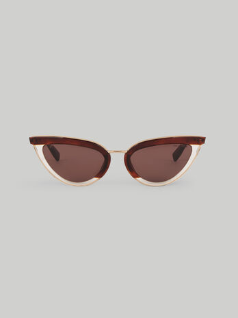 Cat eye sunglasses in acetate and metal