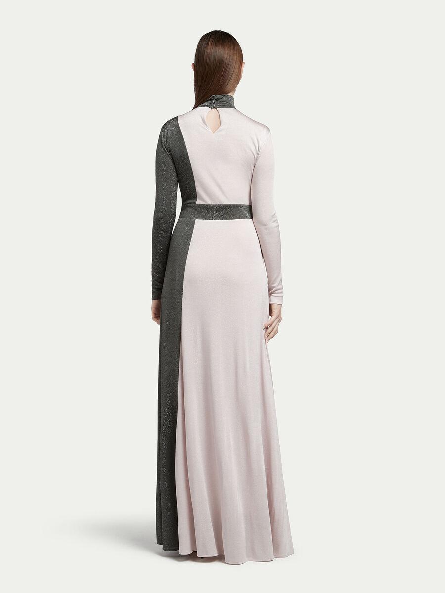 Long jersey dress with lurex detailing