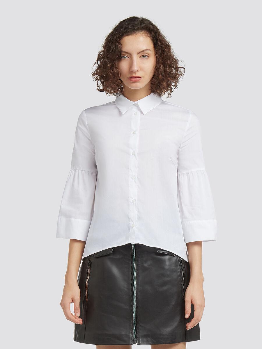Blusa in popeline stretch con colletto