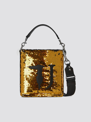 Sequinned small T-Wow Night bucket bag