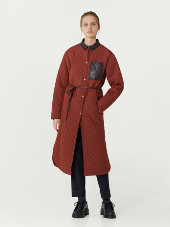 Quilted nylon taffeta trench coat