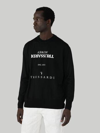 Sweatshirt im Over-Fit aus Baumwolle mit Schriftzug