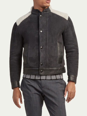 Regular fit shearling biker jacket