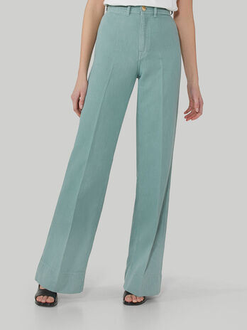Pantalon palazzo en coton et lin souple
