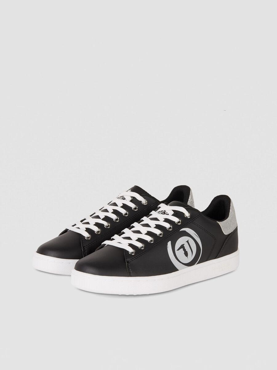 Sneaker in similpelle con logo glitter