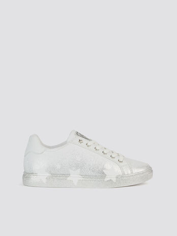 Star sneakers in glittery spray effect faux leather