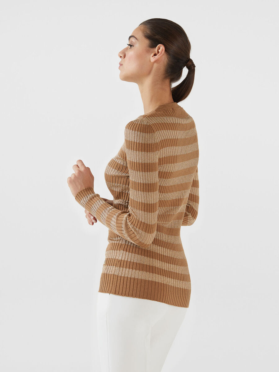 Slim fit wool and lurex pullover