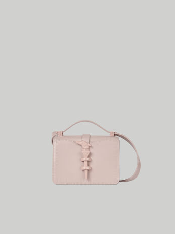 Mini Leila crossbody bag in monochrome leather